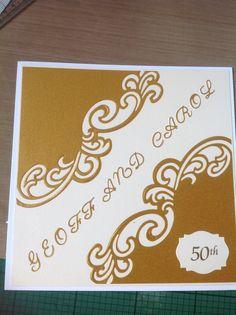 Golden wedding anniversary card using Sue Wilson Lyra die