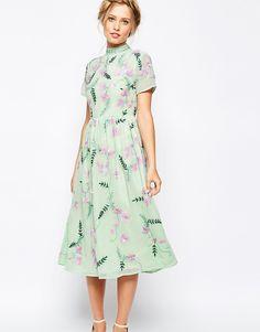 Frock and Frill All Over Embellished Floral Full Prom Midi Dress $272.00 AT vintagedancer.com