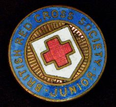 BRITISH RED CROSS SOCIETY JUNIOR ANTIQUE LAPEL PIN HAT VEST RARE VINTAGE OLD B7