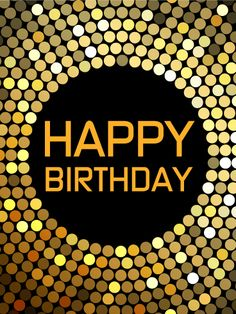 """Let's Dance! Happy Birthday Card. Birthdays are the perfect time for a groovy dance party! This birthday card is the perfect gift for the fun-loving dancers in your life! The gold, white, and brown circles glitter and form a music record on a black background, the perfect accessory for a night of celebration. Say """"Happy Birthday"""" and """"Let's dance!"""" to the party lover in your life with this awesome birthday card!"""