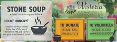 Wisteria Community Association in Nanaimo Presents: Stone Soup for the Cold & Hungry @ 150 Nicol St 7 days/week! Help support the Wisteria Community Association by volunteering, donating, or attending! Gumbo Soup, Beef Barley, Stone Soup, Bowl Of Soup, Fundraisers, Wisteria, Presents, Community, Cold