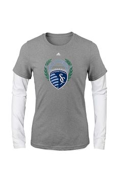 super popular 160f4 03553 Sporting Kansas City Girls Grey Reef Crest Long Sleeve T-shirt, Grey, 50  PLOY 46 COTT 4 RAY, Size S