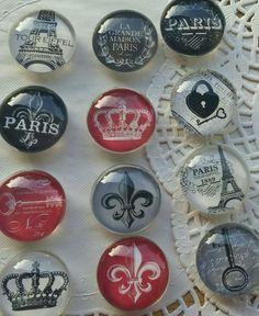 6 Paris,  Paris themed Glass fridge magnets, each 1.5 inches, Kitchen home decor FREE SHIPPING