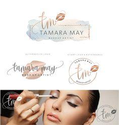 Makeup Logo Design, Lips Logo Design, Rose gold Branding kit, Make up Branding Package, Boutique logo, Lip sense Logo watermark, lips 138