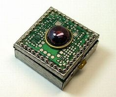 Recycled circuit board ring or pill box geekery