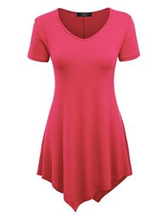 Price:	$11.01  MBJ Womens Short Sleeve Various Hem Tunic Top - Made in USA