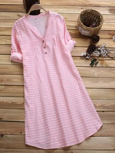 Loose Sleeve Stripe Buttons V-neck Casual Dresses is high-quality, see other cheap summer dresses on NewChic Mobile. Kurta Designs Women, Kurti Neck Designs, Kurti Designs Party Wear, Cheap Summer Dresses, Casual Dresses For Women, Pijamas Women, Designs For Dresses, Summer Dress Designs, Hijab Style