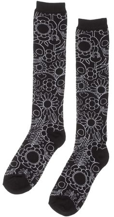 LOUNGEFLY SKULL AND FLOWERS KNEE SOCKS BLK/WHT These socks are more than just the bees knees! These black knee high socks feature fun flowers and happy skulls in an all over fun print. $10.00 #loungefly #socks #skulls