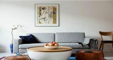 Décoration salon style scandinave canapé gris table basse bois