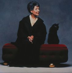 Beautiful Black Cat with her Human, Lena Horne. I dont' know ... looks like Lena is in charge of this one ;-)