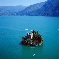 Isola di Loreto, Lago d'Iseo, Italy - Photo from Helicopter