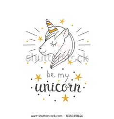 Fashion cute unicorn with hand drawn text. Can used for print design, greeting card, baby shower. Scandinavian style vector illustration.