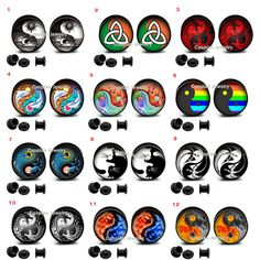 Select 1 pair Different Ying Yang Yin Yang ear gauges tunnel screw back plugs in Jewelry & Watches | eBay