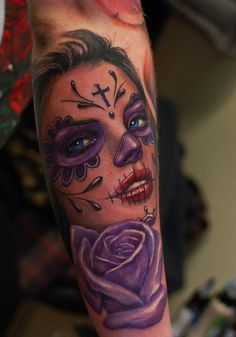 Another example of what Ivan Bor at hammersmith tattoo is fast becoming widely recognized for, his beautiful color work, another great take on the muerte theme!!!