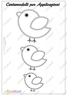 Bird Template, Applique Templates, Applique Patterns, Applique Designs, Clay Crafts, Felt Crafts, Easter Crafts, Quiet Book Patterns, Felt Patterns