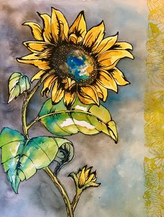 Watercolor and ink patti nash 2017 watercolor в 2019 г. Sunflower Drawing, Sunflower Art, Watercolor Sunflower, Pen And Watercolor, Watercolor Illustration, Watercolor Flowers, Watercolor Paintings, Watercolors, Kristina Webb