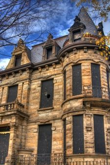 Franklin Castle in the gothic architectural style, found in Cleveland, Ohio. It is said to be one of the most haunted and eerie castles in the world.