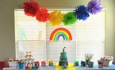 Rainbow parties on Kara's party ideas Rainbow First Birthday, 4th Birthday Parties, Birthday Ideas, Colorful Birthday, Birthday Table, 5th Birthday, Rainbow Parties, Rainbow Theme, Rainbow Stuff