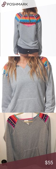 "Rip curl Lolita crewneck sweatshirt large new 24"" length, split neck, kangaroo pocket, 51% cotton 38% rayon 11% polyester tags attached NO Trades PLEASE BUndle and save Rip Curl Tops Sweatshirts & Hoodies"
