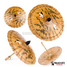 Vintage Asian Japanese Chinese Paper Rice Umbrella Parasol Bamboo Rising Sun ! #Handcraft
