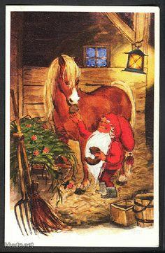 Irma Salmi, Christmas card 10 x Finland Xmas Elf, Christmas Gnome, Christmas Art, Swedish Christmas, Scandinavian Christmas, Retro Christmas, David The Gnome, Snow Maiden, Kobold