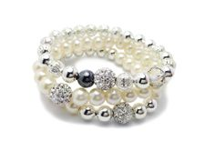 Beaded Pearl Bracelet - Pearl Bracelet - Pave Beads - Silver and Pearl - Silver Plated Bracelet - Manhattan <3