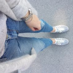 tifmys - H&M cardigan and denim, Michael Kors watch & Adidas Gazelle sneakers.