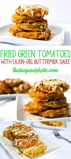 I found the perfect Fried Green Tomato recipe. These are served with a cool, creamy Cajun-Dill buttermilk sauce. Yum! From @thatsquareplate