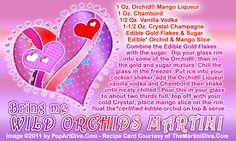 Bring Me WILD ORCHIDS MARTINI -Valentine's Cocktail - Click image for the free, full sized recipe card and some Valentine Trivia.