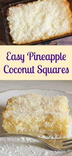 Easy Pineapple Coconut Squares, a buttery shortbread base and a delicious Coconut Pineapple filling makes this the perfect square. Pinapple Dessert Recipes, Pineapple Desserts, Pineapple Coconut, Coconut Recipes, Pineapple Recipes, Indian Desserts, Just Desserts, Delicious Desserts, Yummy Food