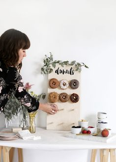 DIY Donut Wall - DIY Donut Wall without the peg board The Effective Pictures We Offer You About donut wall wedding - Diy Donuts, Homemade Donuts, Picnic Birthday, Birthday Parties, 3rd Birthday, Flamingo Birthday, Happy Birthday, Diy Peg Board, Peg Wall