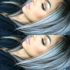 Blue grey ombré wig