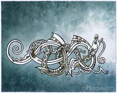 ✿ Tattoos ✿ Celtic ✿ Norse ✿ Sea Serpent of Okanagan Lake by omegalith