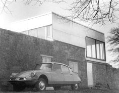 The Smithsons, solar pavilion, Upper Lawn, Fonthill 1959-1962. Icon of English new brutalism with the architects' citroën DS in front