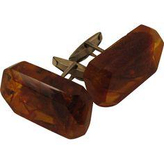 Russian Amber 875 Silver Cufflinks Vintage MCM