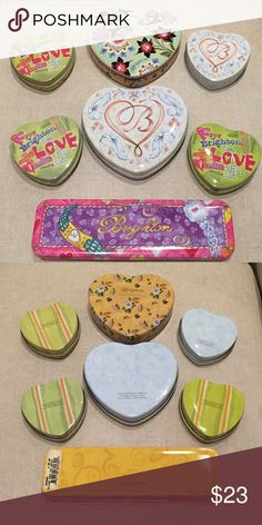 Brighton Tins Lot of 7 Brighton Tins Lot of 7 very clean like new condition! 2 Large Heart Tins, 4 Small Heart Tins and 1 Watch Tin. These are great for any Brighton jewelry you might buy on Poshmark to give as gifts! Brighton Jewelry