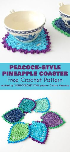 Peacock Style Pineapple Coasters Free Crochet Pattern