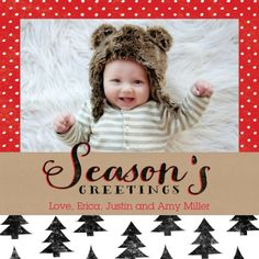 Send season's greetings to loved ones with this 'True Fir Trees' bright red holiday photo card.