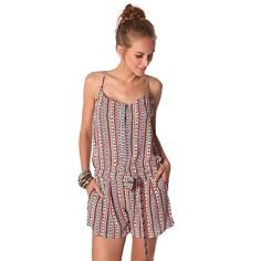Red button up playsuit in tile print and belt Red playsuit with tile print in a lightweight woven fabric. Round neckline with spaghetti straps an a racer back design. Drawstring in the waist and pockets on the side. Perfect for during the day or a day at the beach!