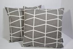 Spira Scandinavian Swedish Retro Geometric contemporary fabric cushion cover - Fasset Grey