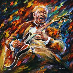 Maybe recreate this or something similar using tissue paper and hang up on windows to get the light flow? Bb King — Blues Musician Portrait Oil Painting On Canvas By Leonid Afremov… Bb King, Oil Painting On Canvas, Diy Painting, Painted Canvas, Artist Painting, Hand Painted, Portrait, Frida Art, Popular Paintings