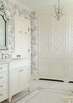 Laurel Bern Interiors Bronxville master bathroom with custom cabinetry - photo by Laurel Bern - classical old home and renovation we did.