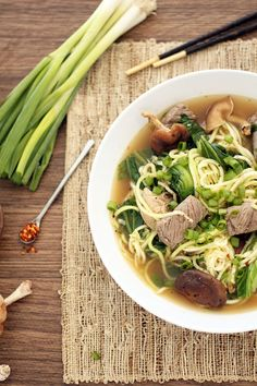 Beef Zucchini Noodle Soup with Shitake Mushrooms and Baby Bok Choy