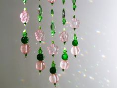 sun catcher mobile beaded ceiling hanging by KarmaProject on Etsy