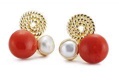 Nikita Coral and Pearl Ear Stud - Jewellery / Earrings - Parisera
