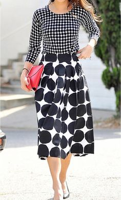 Polka Dot Skirt and Top Suit with a modest 3/4 sleeve polka dot blouse and mid length pleated polka dot vintage skirt. A Perfect Black and White Mixed Print Set! #mixedprint #polkadots