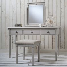 Frank Hudson kiss dressing table hand painted to Elephants breath by Farrow & Ball £580.00 Shop > http://www.beau-decor.co.uk/dressing-tables-stools/frank-hudson-kiss-dressing-table-elephants-breath