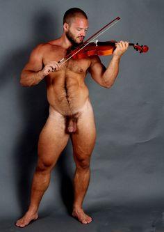 Woman sexy violin nude playing