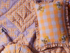 Projekkitityny Leinikki Embroidered Gingham Quilt, £375 and Gingham Frill Cushion, £70 from Liberty London, my affiliate partner Find out more about the gingham interiors trend by reading the article on my blog Gingham Quilt, Gingham Tablecloth, Pink Gingham, Linen Pillows, Cushions, Affiliate Partner, Quirky Decor, Anthropologie Uk, Online Shopping Websites