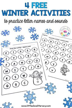 Practice letter names and sounds with these 4 fun and free winter activities that are great for preschool, pre-k, and kindergarten littles. Preschool Phonics, Math Literacy, Preschool Letters, Preschool Themes, Literacy Skills, Pre K Activities, Alphabet Activities, Winter Activities, Preschool Winter